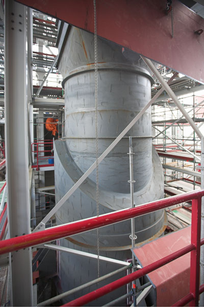 The assembly of the boiler in a waste incineration plant AZN in Moerdijk, The Netherlands