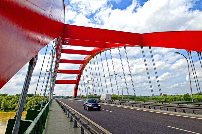 The John Paul 2nd Bridge over the Vistula river in Pulawy, Poland