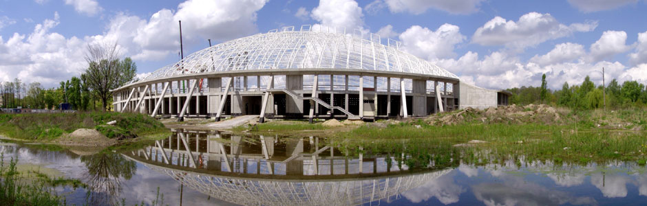 "<div style=""font-weight:bold; font-size:120%;"">Velodrome hall with additional facilities, located in Pruszkow near Warsaw, Poland</span>"